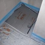 Fußbodenheizung Gäste-WC, Duschnische